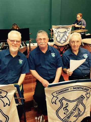 Smiles between numbers from cornet players Vic, Allan and Jack at the Movie Magic Concert 20September 2015