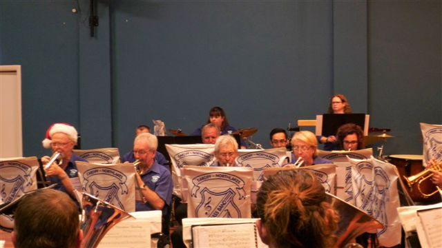"""The Cornet Section and the Percussionists are """"quite busy"""" at the Christmas in Brass Concert. 18 December 2016."""