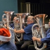 """Basses Phil, Dave and Christine """"on the beat"""" at the Christmas in Brass Concert. 18 December 2016"""