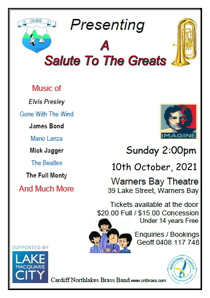 """NEW DATE: """"A Salute To The Greats"""" Concert @ Warners Bay Theatre (previously known as Lake Macquarie Performing Arts Centre)"""